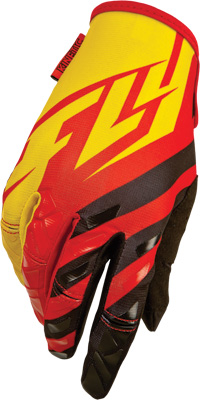 FLY RACING KINETIC GLOVES RED BLACK YELLOW SZ 4 Aftermarket Part