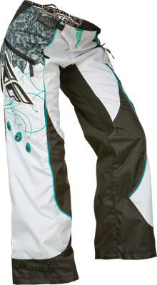 FLY RACING KINETIC LADIES OVERBOOT PANT TEAL WHITE SZ 24 Aftermarket Part