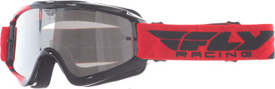 Fly Racing Zone Pro Goggles Adult Dirt Bike MX Red,Black Flash Chrome Lens