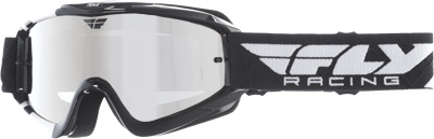 Fly Racing Zone Pro Goggles Youth Dirt Bike MX Black,White Chrome, Smoke Lens