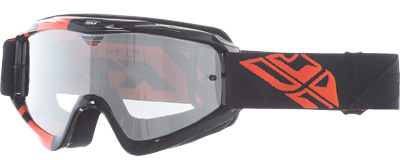 Fly Racing Zone Pro Goggles Adult Dirt Bike MX Black,Orange Flash Chrome Lens