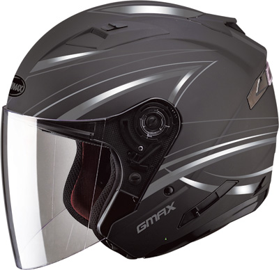GMAX OF77 OPEN FACE HELMET 3XL DERK (FLAT BLACK SILVER) Aftermarket Part