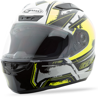 GMAX FF88 FULL FACE X-STAR HELMET WHITE HI-VIS YELLOW S Aftermarket Part