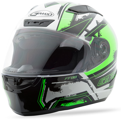 GMAX FF88 FULL FACE X-STAR HELMET WHITE HI-VIS GREEN M Aftermarket Part