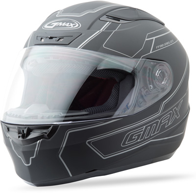 GMAX FF88 FULL FACE DERK HELMET FLAT BLACK SILVER L Aftermarket Part