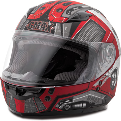 GMAX GM49Y TROOPER FULL FACE HELMET YL (FLAT RED DK SILVER) Aftermarket Part