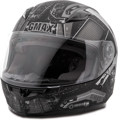 GMAX GM49Y TROOPER FULL FACE HELMET YS (FLAT BLACK WHITE SILVER) Aftermarket Part