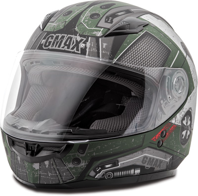 GMAX GM49Y TROOPER FULL FACE HELMET YL (FLAT GREEN BLACK RED) Aftermarket Part