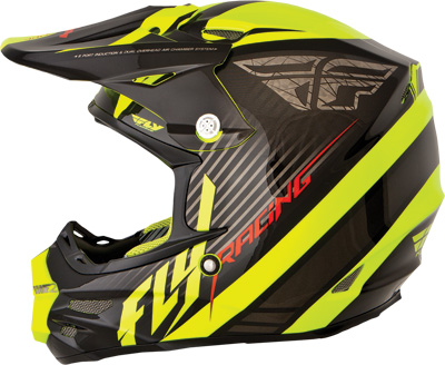 FLY RACING F2 CARBON FASTBACK HELMET BLACK HI VIS X Aftermarket Part