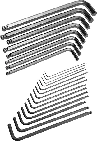 Alloy steel constructionBall end hex keys work at angles up to 25°Includes plastic holder for ea