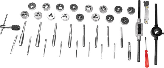 Includes: 17 taps and 17 dies (course/fine thread and NPT), T-handle tap wrench, tap/die holders, sc
