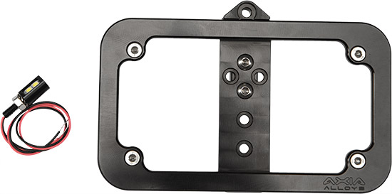 The Axia Alloys billet license plate frame can be roll cage or bumper mounted vertically or horizont