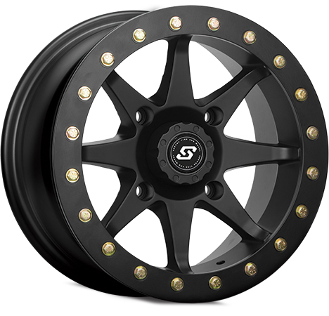 Constructed of hi-grade polished black aluminumBillet bead-lock ring with bolts to help prevent tire