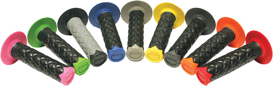 Super slim vibration dampening grips with Spider Traction GelDesign to shed mud and water and give i