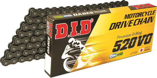 D.I.D. Top quality O-Ring chains are quad stake riveted with solid bushings for superior strength an