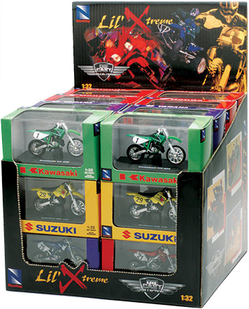 Twenty-four (24) piece assortment packs with included display box.Dirt Bike and Quad 24-piece = 4 di
