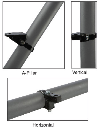A-Pillar (front angled) mount for single LED lightsVertical and Horizontal mounts for single LED's,